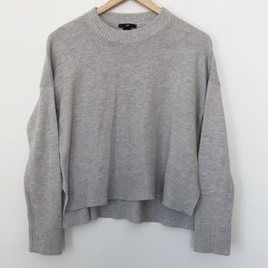 H&M Hi-Lo Marled Grey Cropped Pullover Sweater